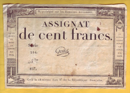 ASSIGNAT De 100 Francs. 18 Nivôse An III  (7 Janvier 1795) - Signature: Godet - Assignats