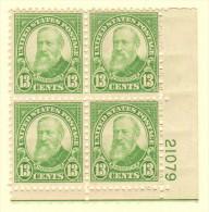 USA SC #694 MH PB4  1931 13c Harrison #21079 W/ea Stamp W/hinge Mark, CV $15.00 - Plate Blocks & Sheetlets