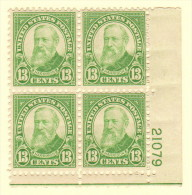 USA SC #694 MH PB4  1931 13c Harrison #21079 W/ea Stamp W/hinge Mark, CV $15.00 (H) - Plate Blocks & Sheetlets