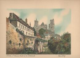 LAON L'ancien Evêché Et La Cathédrale  Gravure Signée BARDAY 24 Cm X 31 Cm - Estampes & Gravures