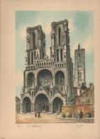 LAON La Cathédrale  Gravure Signée BARDAY 24 Cm X 31 Cm - Estampes & Gravures