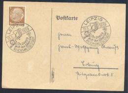 Germany Deutsches Reich 1939 Card Fauna Lion Löwe Panthera Leo: In Leipzig Ist Der Löwe Los! Cancellation - Raubkatzen