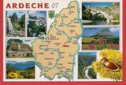 Carte Contour Géographique Du Département De L'ARDECHE - Maps