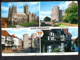 J1070 UK Kent Canterbury - Multiviews, Multipla, Multivues - Cathedral, Falstaff Inn Adn Westgate - Auto Car Voitures - Canterbury