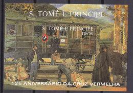 SAO TOMÉ E PRINCIPE Block 183, Gestempelt, Eisenbahnwaggon, 125 Jahre Rotes Kreuz 1988 - Sao Tomé Y Príncipe