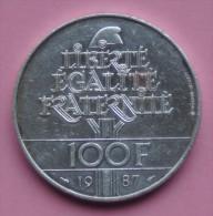 """Pièce De 100 Francs 1987 """"La Fayette"""" - Argent 900/1000 - France"""
