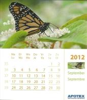2012 Calendrier Page Kalender Blz Calendar Page / 11.7 X 13.3 Cm Carton Glacé / Papillon Vlinder Butterfly - Kalenders