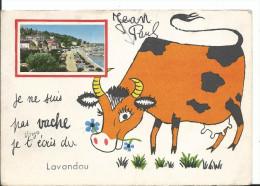 Carte à Système , Le Lavandou Mini Vue : Je Ne Suis Pas Vache, Je Vous écris Du Lavandou..., Cpsm, Rajout Au Stylo ! - Le Lavandou