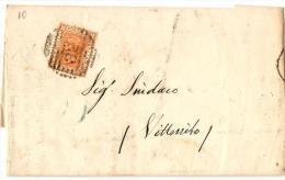 L8,COLLEZIONE STORIA POSTALE,REGNO,LETTERA 20 CENT. DA VITTORITO AQUILA X MAIANO,13-8-1877.TIMBRO A GRIGLIA N. 32 - 1861-78 Victor Emmanuel II