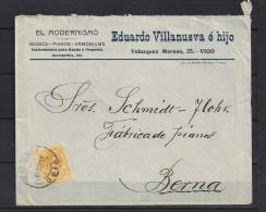 1919 PONTEVEDRA, SOBRE COMERCIAL CIRCULADO DE VIGO A BERNA, EL MODERNISMO, MUSICA - PIANOS - ARMONIUMS - Cartas