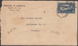 1917-H-93 CUBA. REPUBLICA. 1917. AVION MORANE. SOBRE ENVIADO ENTREGA ESPECIAL. SPECIAL DELIVERY. HABANA. - Cuba