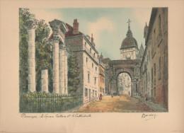 BESANÇON Le Square Castan Et La Cathédrale   Gravure Signée BARDAY 24 Cm X 31 Cm - Stampe & Incisioni