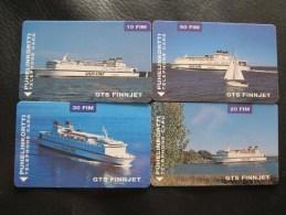 Magnetic phonecards,GTS Finnjet SILJA line, passenger boat,set of 4,mint
