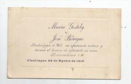 Participan à Vil. Su Efectuado Enlace Y Tienen Et Honor De Ofrecerle Su Casa , CIENFUEGOS 25-8-1910 - Faire-part