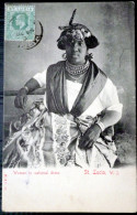 SAINTE  LUCIE SANTA LUCIA  WOMAN IN NATIONAL DRESS  UNITED STATES  U S A  ETHNOLOGIE - Sainte-Lucie