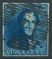 N�2, 20c bleu (couleur soutenue) bien marg� P4 Anvers. TB