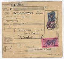 Schweiz Michel No. 196 , 208 auf Paketkarte Paketbegleitschein