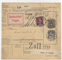 Schweiz Paketkarte Paketbegleitschein 1929