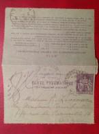 Carte Lettre Pneumatique 1F50 Violet CLPP N° YT 2603 Cad Paris Batignolles 1927 - Pneumatiques