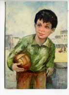 014I/ Illustration Drawing Tekening Classic Klassiek Jongen Garçon Boy Football Voetbal Série Gosses De Partout - Portraits