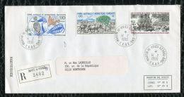 """FRANCE ( TAAF ) : TRES  BEL  AFFRANCHISSEMENT  AVEC  CAD """" MARTIN-DE-VIVIERS-SAINT-P AUL""""  DU 14 FEVRIER 1990 , A VOIR . - Collections, Lots & Séries"""