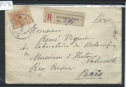 ROUMANIE - LETTRE EN RECOMMANDEE POUR LA FRANCE  1912    - A VOIR - Marcofilia