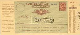 """CARTOLINA-VAGLIA LIRE OTTO CON TIMBRI IN CARTELLA """"ANNULLATO"""" - Storia Postale"""