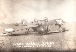 PHOTO AVIATION AVION CHUTE ACCIDENT ARMEE AIR PILOTE 1924 LIEUTENANT LENERT WACKERNHEIM