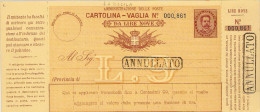 """CARTOLINA-VAGLIA LIRE NOVE CON TIMBRI IN CARTELLA """"ANNULLATO"""" - Storia Postale"""