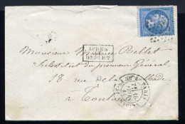Lettre De Paris Pour Toulouse 1865 Etoile 23 Tronquée - 1862 Napoleon III
