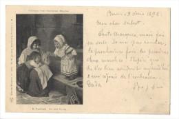 11361 - Der Erste Sprung H.Kaulbach En 1898 Femme Et Enfants - Peintures & Tableaux