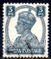 INDIA 1940 King George VI - 3p  - Slate    FU - Inde (...-1947)