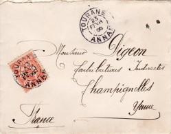 Lettre Affranchie Avec Timbre F.M.  N°2 - Tourane -Annam  Le 23.02.1906 - Franchigia Militare (francobolli)