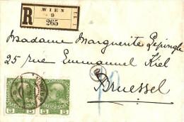 Lettre Recommandé De Vienne 1915 Pour Bruxelles -recto Belle Censure De Vienne - Guerre 14-18