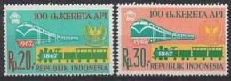 Indonesia Zonnebloem Cat Nr 608/9 Postfris (MNH, Neuf Sans Charniere) Treinen, Trains - Indonésie