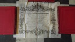 SUPERBE DIPLOME ORDRE IMERIAL DE LA LEGION D HONNEUR 1856 TRES BEL ETAT NAPOLEON III - Médailles & Décorations