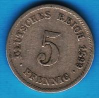 DEUTSCHES REICH 5 PFENNIG 1899 G - [ 2] 1871-1918 : Imperio Alemán