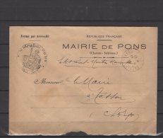17 - Mairie De Pons  - Lettre Voyagée  - 1938 - Marcophilie (Lettres)
