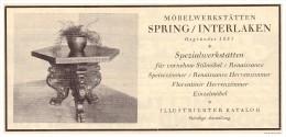 Original Werbung - 1926 -  Möbelwerkstatt Spring In Interlaken , Möbel , Schreiner , Uhr !!! - Meubels