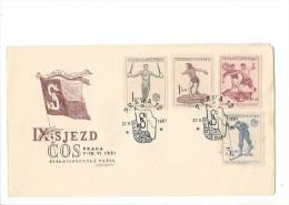11386 -  Ceskoslovenska Posta IX.SJEZD COS Praha 21.06.1951 Sport - FDC