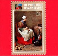 RWANDA  - 1973 - Dipinto di Chardin - Femme epluchant des navets - Monaco, Pinacoteca - 50