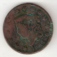 *usa 1 Cent 1824  Km 45  Fr+ - 1816-1839: Coronet Head (Testa Coronata