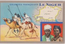 Ex Colonie Française,colonie Du Niger,carte Du Pays ,plan D´époque,niamey,désert,sa Hara,rare - Niger