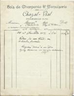 FACTURE  -CHAZAL-VIAL - CHALMAZELLE - BOIS DE CHARPENTE & MENUISERIE - France
