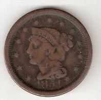 *usa 1 Cent 1854  Km 67   Vf - 1840-1857: Braided Hair (Capelli Intrecciati)