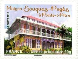 YTA736 FRANCE An.2012 Autoadhésif Maison Souques-Pagès à Pointe-a-Pitre (Gouadeloupe) - Francia