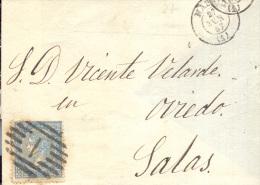 Año 1867 Edifil 88 4 C.  Isabel II Env Con Matasellos Rejilla Cifra 1Madrid  A Salas - Lettres & Documents