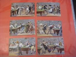 6 Cards Complete Set Anno 1911 VG  Arthur Thiele, Poststamped Postcards, Comic Pool Biliard Billiards Biljart Game Poole - Humor