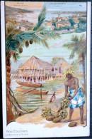 DOM TOM TAHITI  NOS  COLONIES VUES LITHOGRAPHIEES DE  DE PAPEETE ET DES ILES SOUS LE VENT  PUB LOMBART - Tahiti