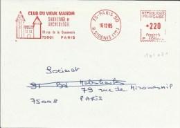 Lettre   EMA Havas P Club Du Vieux Manoir Chateau Sauvetage Archeologie Monument 75 Paris  A45/09 - Archäologie